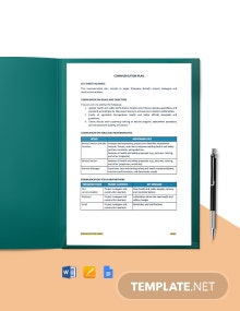 One Page Construction Communication Plan Template