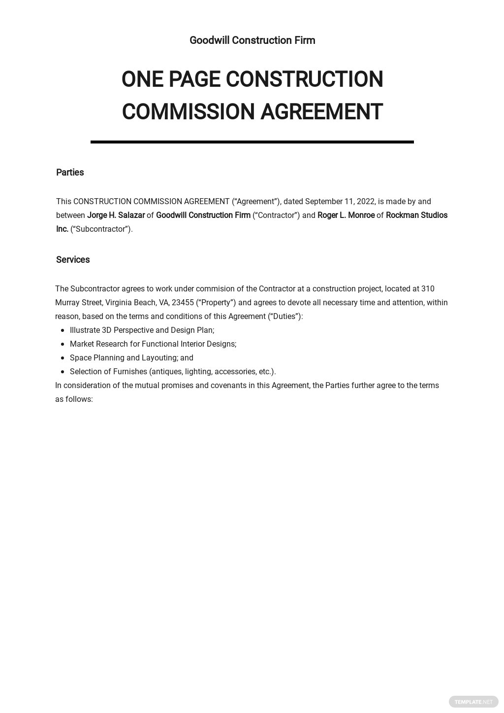 One Page Construction Commission Agreement Template.jpe