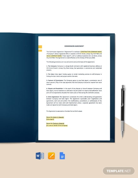 One Page Construction Commission Agreement Template