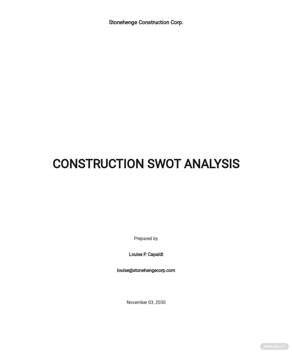 Free Sample Construction SWOT Analysis Template