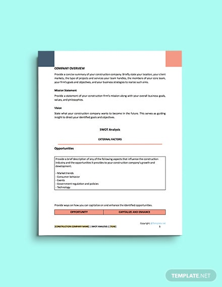 free construction sample Swot Analysis Template