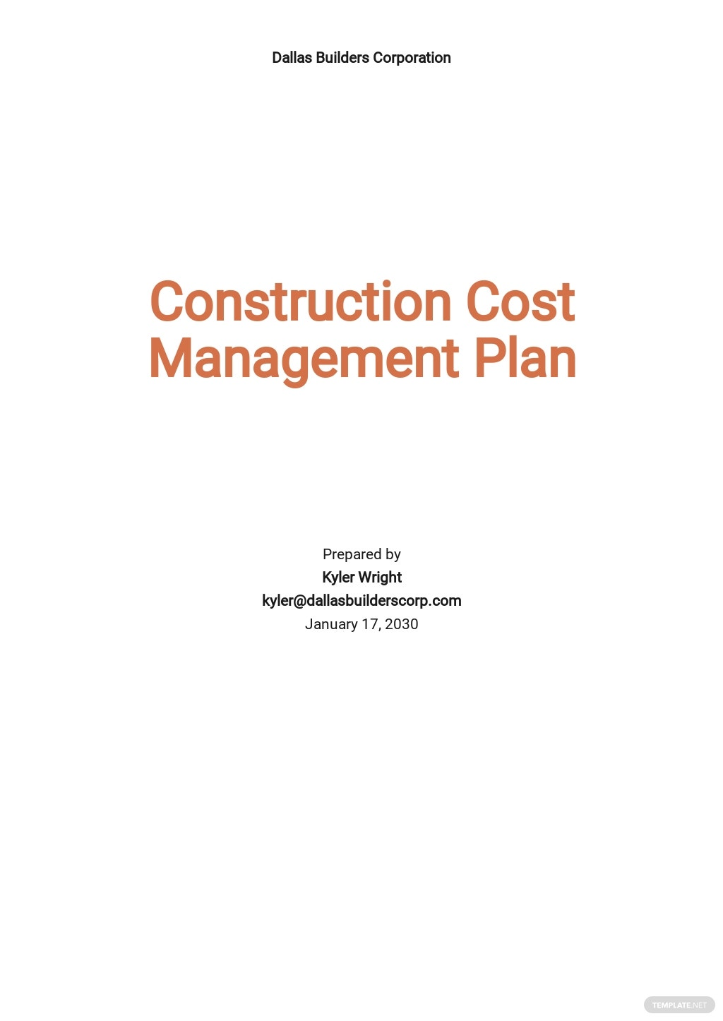 Construction Cost Management Plan Template