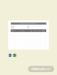 Free Sample Church Inventory Template
