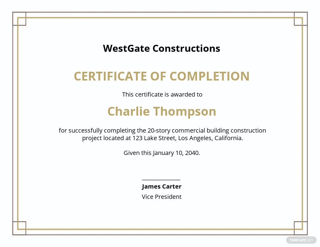Construction Project Completion Certificate Template.jpe