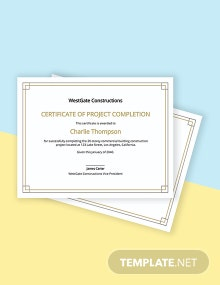 Construction Project Completion Certificate Template