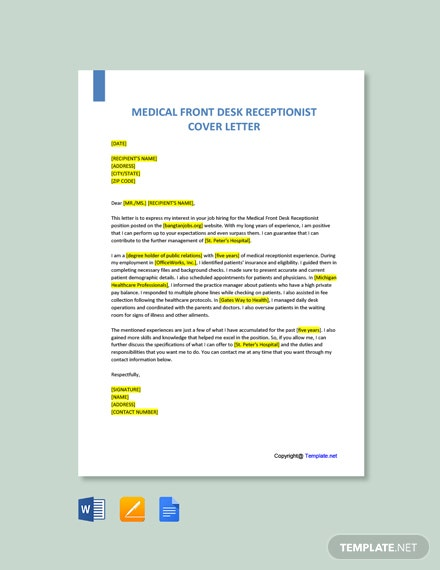 Free Medical Office Receptionist Cover Letter Template
