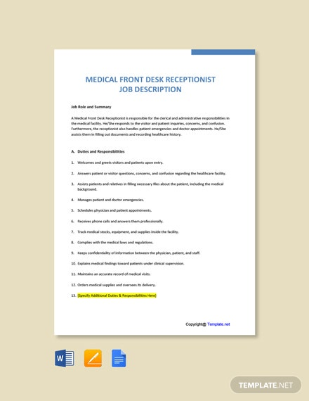 Free Medical Office Receptionist Job Ad and Description Template