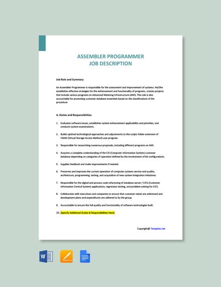 Free Assembler Programmer Job Description Template