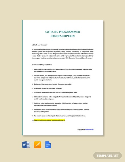 Free Catia NC Programmer Job Description Template