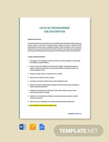 Free Catia NC Programmer Job Description Template