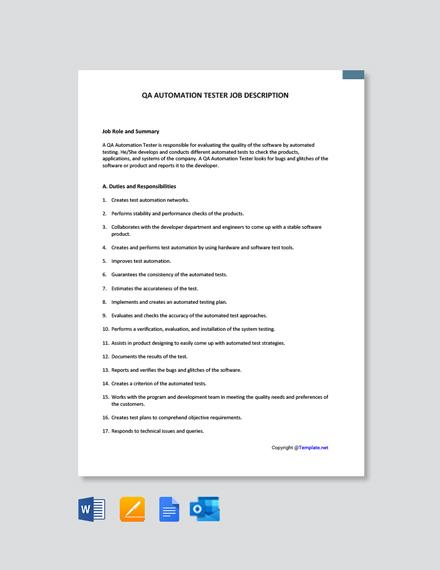 Free QA Automation Tester Job Description Template