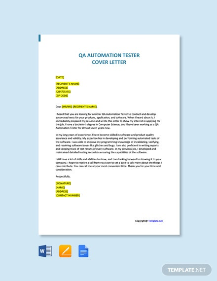 Free QA Automation Tester Cover Letter Template