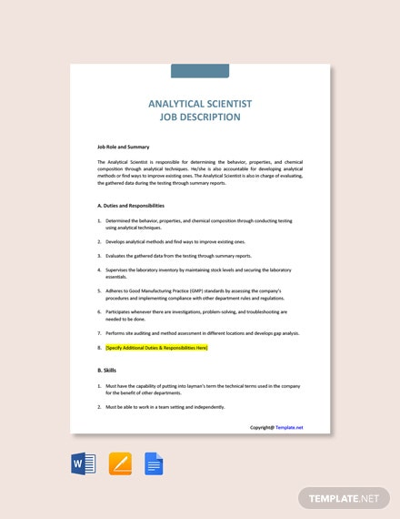Free Analytical Scientist Job Description Template
