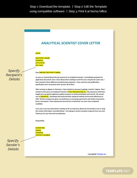 Analytical Scientist Cover Letter Template