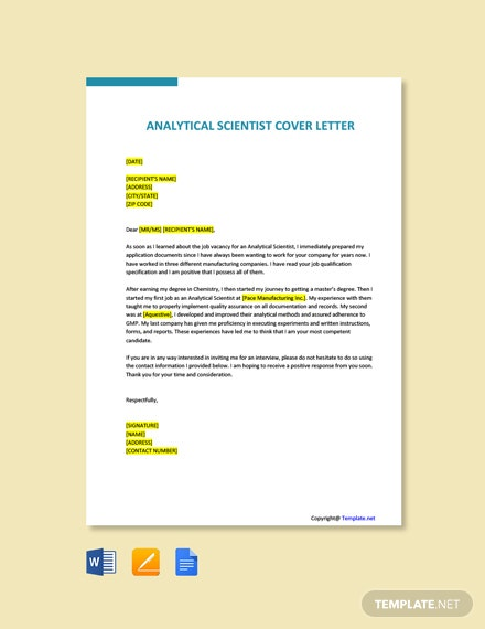 Free Analytical Scientist Cover Letter Template