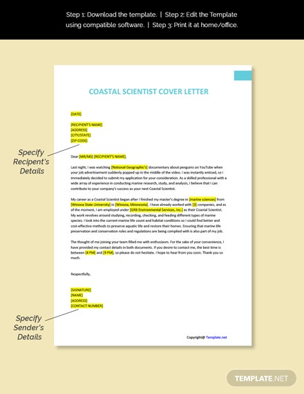 Coastal Scientist Cover Letter Template