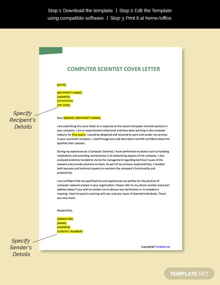 Computer Scientist Cover Letter Template