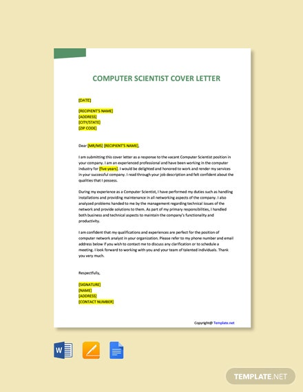 Free Computer Scientist Cover Letter Template