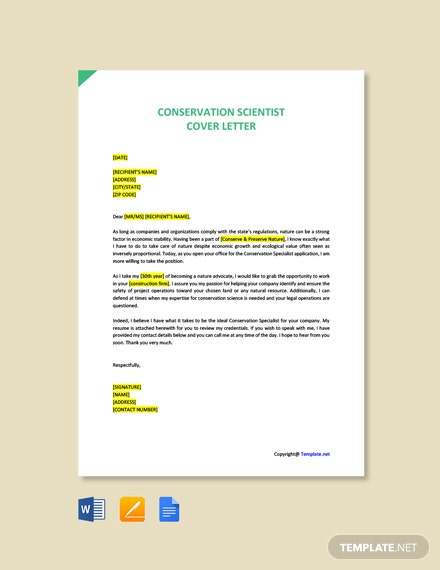 Free Conservation Scientist Cover Letter Template