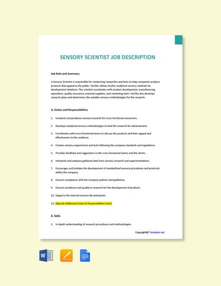 Free Sensory Scientist Job Ad/Description Template