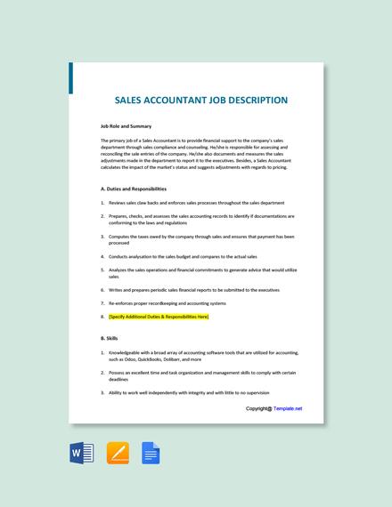 Free Sales Accountant Job Description Template