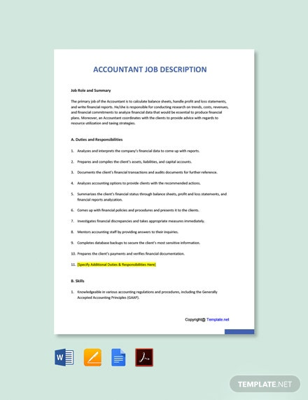 Free Accountant Job Description Template