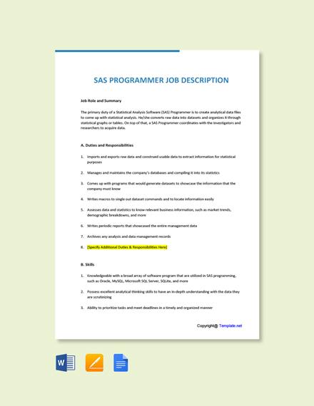 Free SAS Programmer Job AD/Description Template