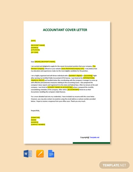 Free Accountant Cover Letter Template