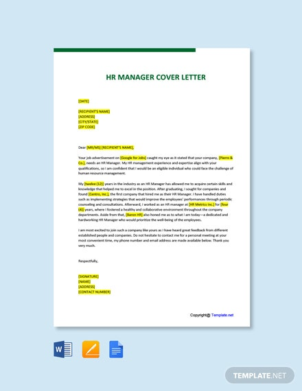 Free HR Manager Cover Letter Template
