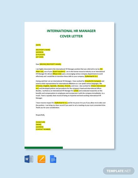 Free International HR Manager Cover Letter Template