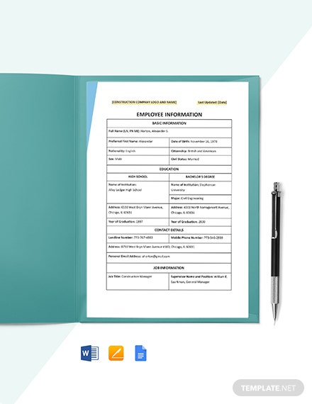 Construction Employee Information Template