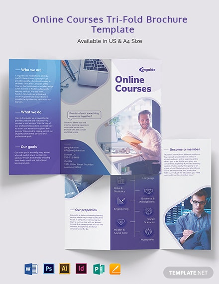 Online Courses Tri-Fold Brochure Template