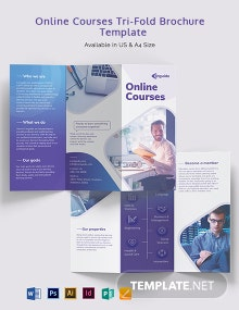 Online Courses Tri-Fold Brochure Template