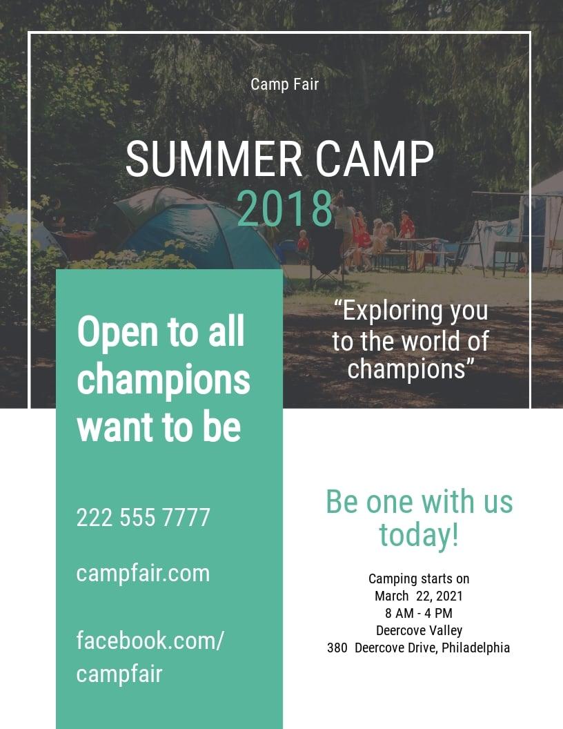 Summer Camp Pamphlet Template