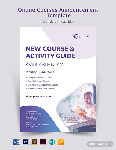 Online Courses Announcement Template