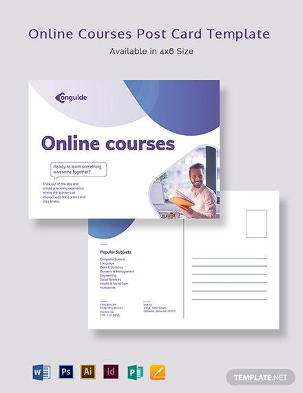 Online Courses Postcard Template