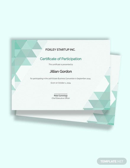 Free Modern Certificate of Participation Template