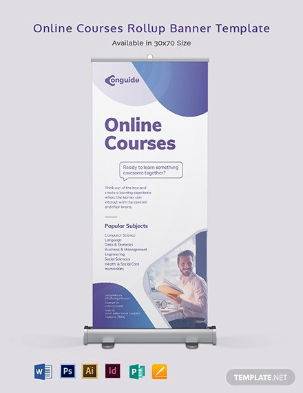Online Courses Roll Up Banner Template
