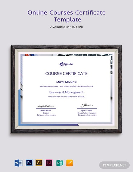 Online Courses Certificate Template