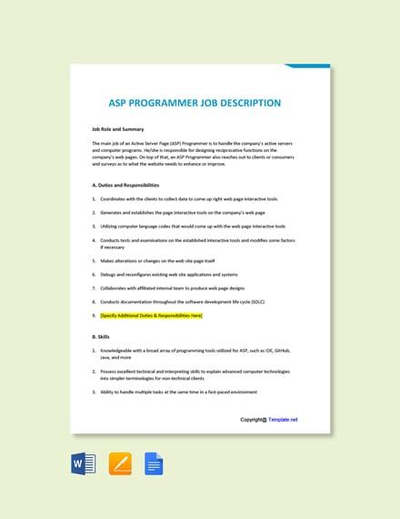 Free ASP Programmer Job Ad/Description Template