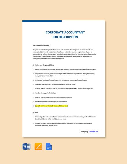 Free Corporate Accountant Job Ad/Description Template
