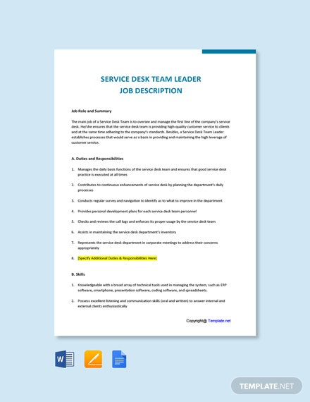 Free Service Desk Team Leader Job AD/Description Template