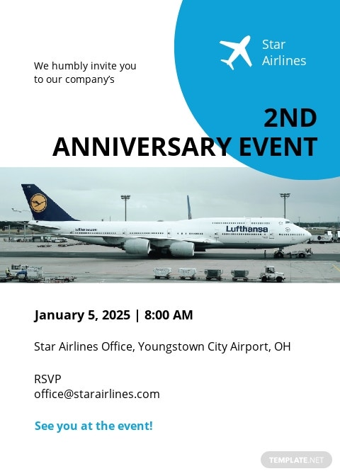 Airlines/Aviation Services Invitation Template
