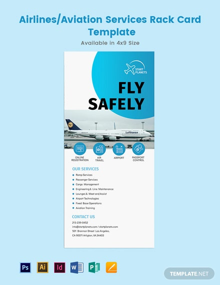 AirlinesAviation Services Rack Card Template