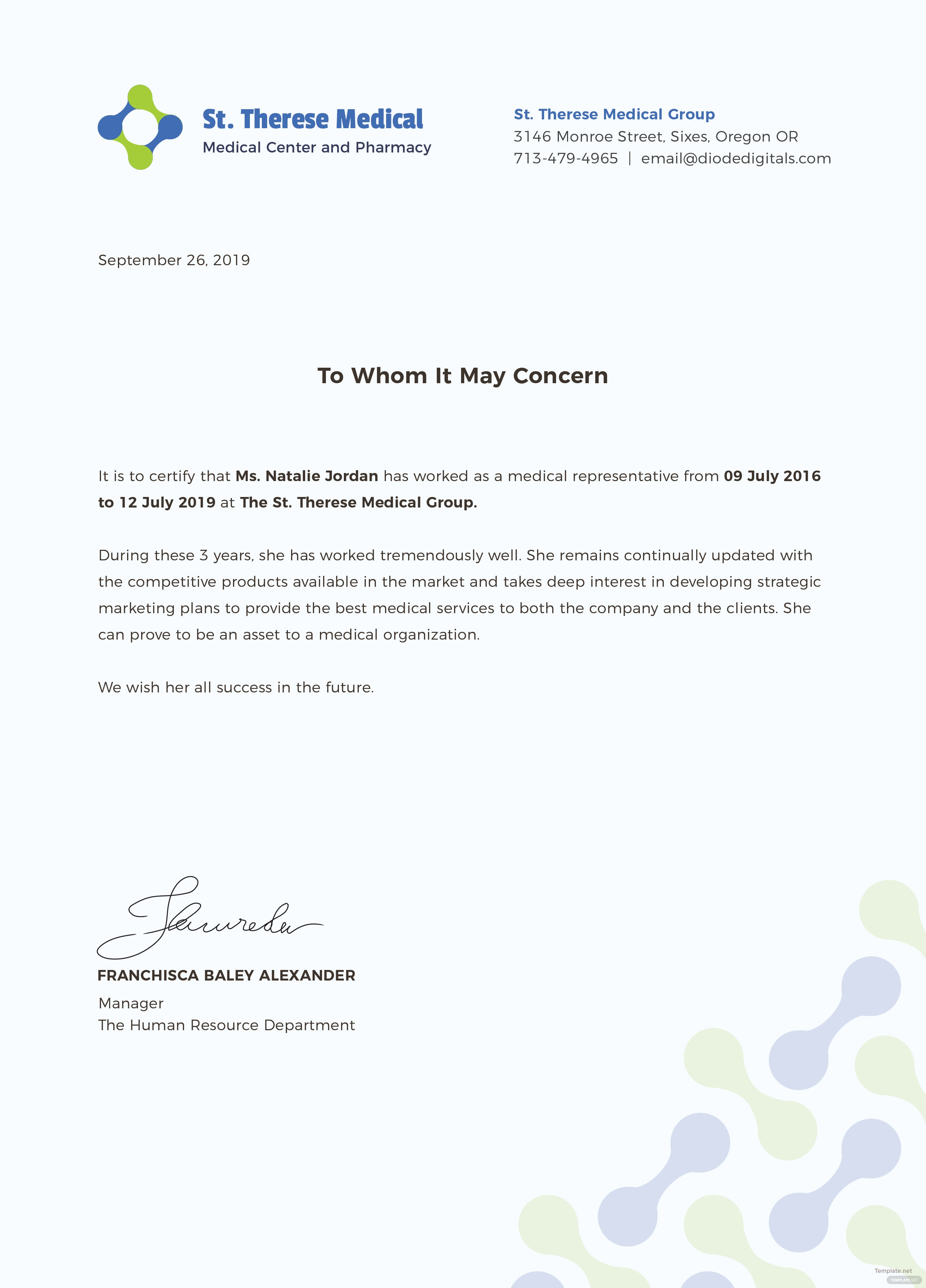 medical experience certificate template in adobe photoshop