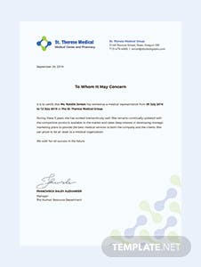 Medical Experience Certificate Template