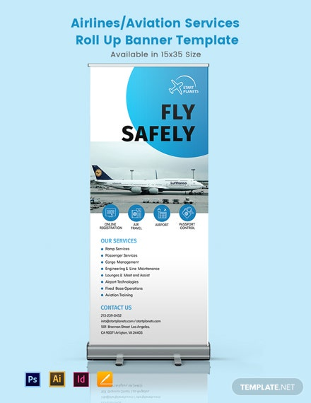 Airlines/Aviation Services Roll Up Banner Template
