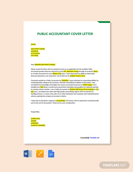 Free Public Accountant Cover Letter Template