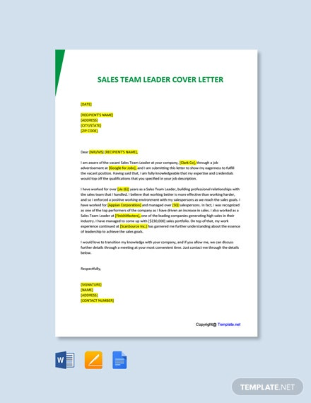 Free Sales Team Leader Cover Letter Template
