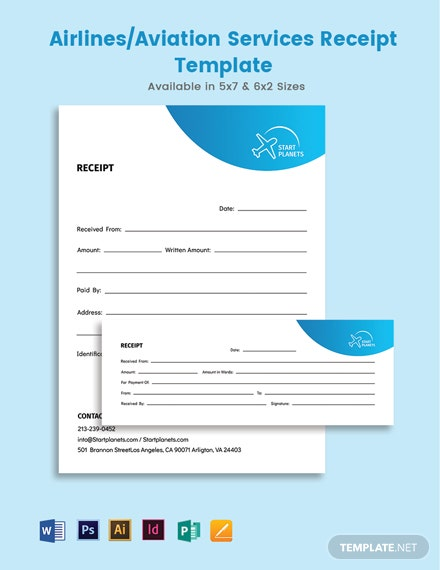 Airlines/Aviation Services Receipts Template